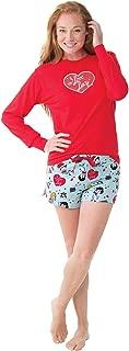 PajamaGram I Love Lucy Christmas Short Set Pajamas for Women, Red