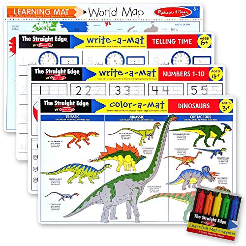 Melissa & Doug Telling Time, Dinosaurs, Numbers 1-10, World Map: Learning Mat Bundle with Compatible M&D Crayon Bundle with 1 Theme Compatible M&D Scratch Art Mini-Pad (05011)