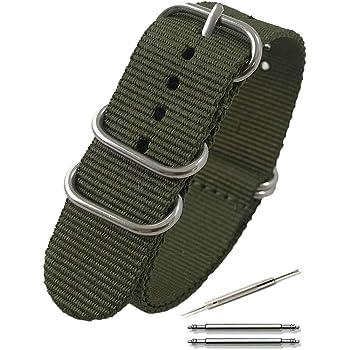 Calme(カルム)NATO ベルト 腕時計 バンド G10 プレミアム ナイロン 交換簡単 ストラップ 16㎜ ~ 24㎜ 交換説明書付き (20㎜, アーミーグリーン)