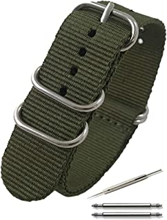 Calme(カルム)NATO ベルト 腕時計 バンド G10 プレミアム ナイロン 交換簡単 ストラップ 16㎜ ~ 24㎜ 交換説明書付き (18㎜, アーミーグリーン)