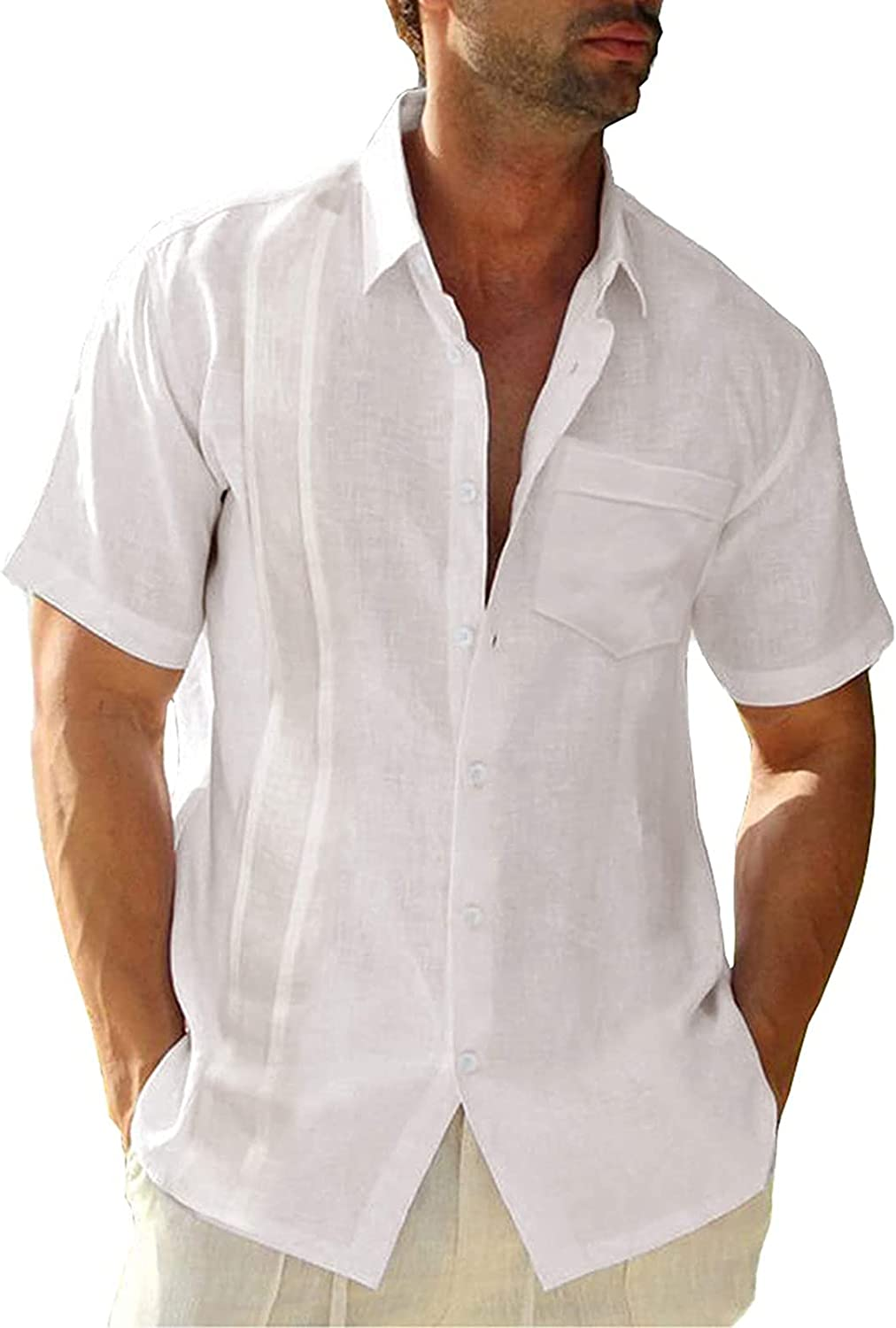 WOCACHI Cotton Linen Button Down Shirts for Mens , Summer Short Sleeve Casual Tee Tops Shirt with Front Pockets