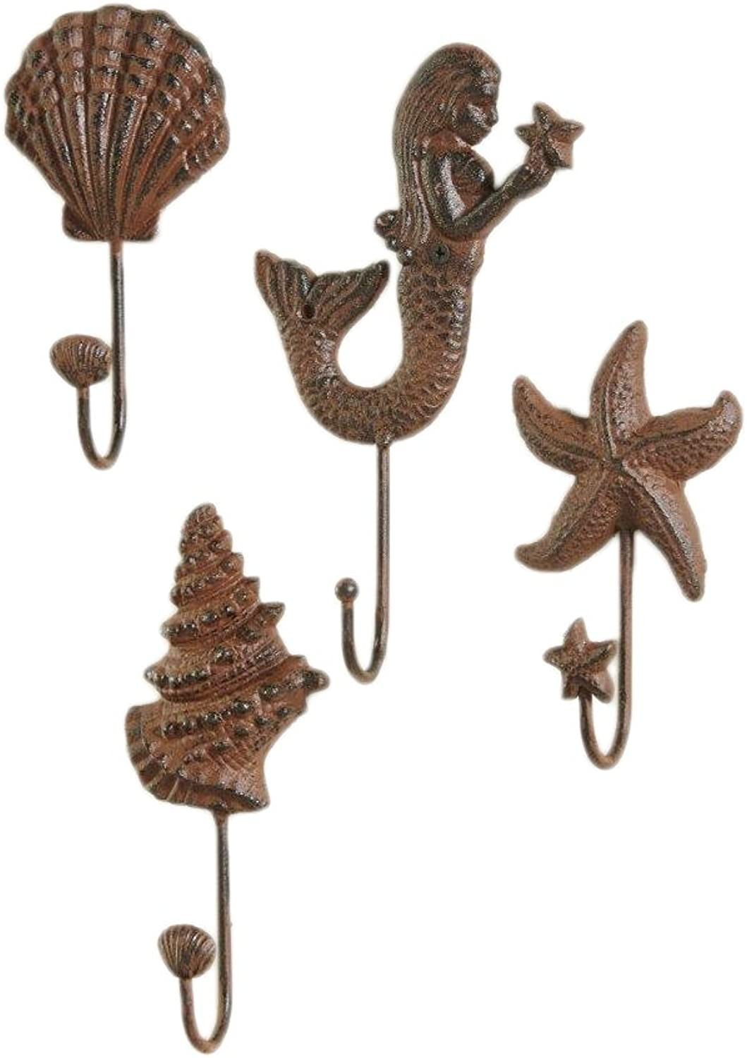 Giftcraft 4 Pc Set of Decorative Key Hooks in Nautical Shapes of Mermaid, Starfish, Conch Shell and Clam