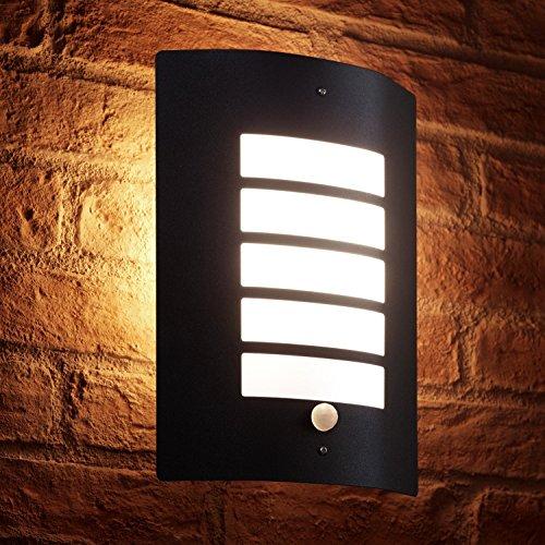 Auraglow Luce a muro Nero Acciaio inossidabile Design 'Grill' con PIR rivelatore - 1 x LED lampadina (Bianco caldo) 5W Incluso