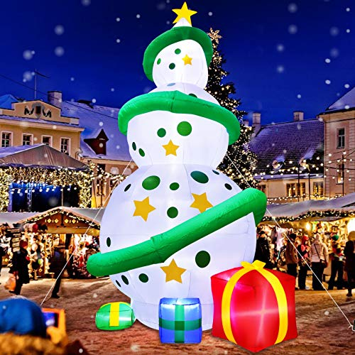 TURNMEON 12 Ft Giant Christmas Tree Inflatables Decoration with Lights,Blow Up Snowballs Tree Outdoor Decoration with Build-in LEDs Tethers Stakes Christmas Decor Holiday Party Yard Garden Lawn Decor