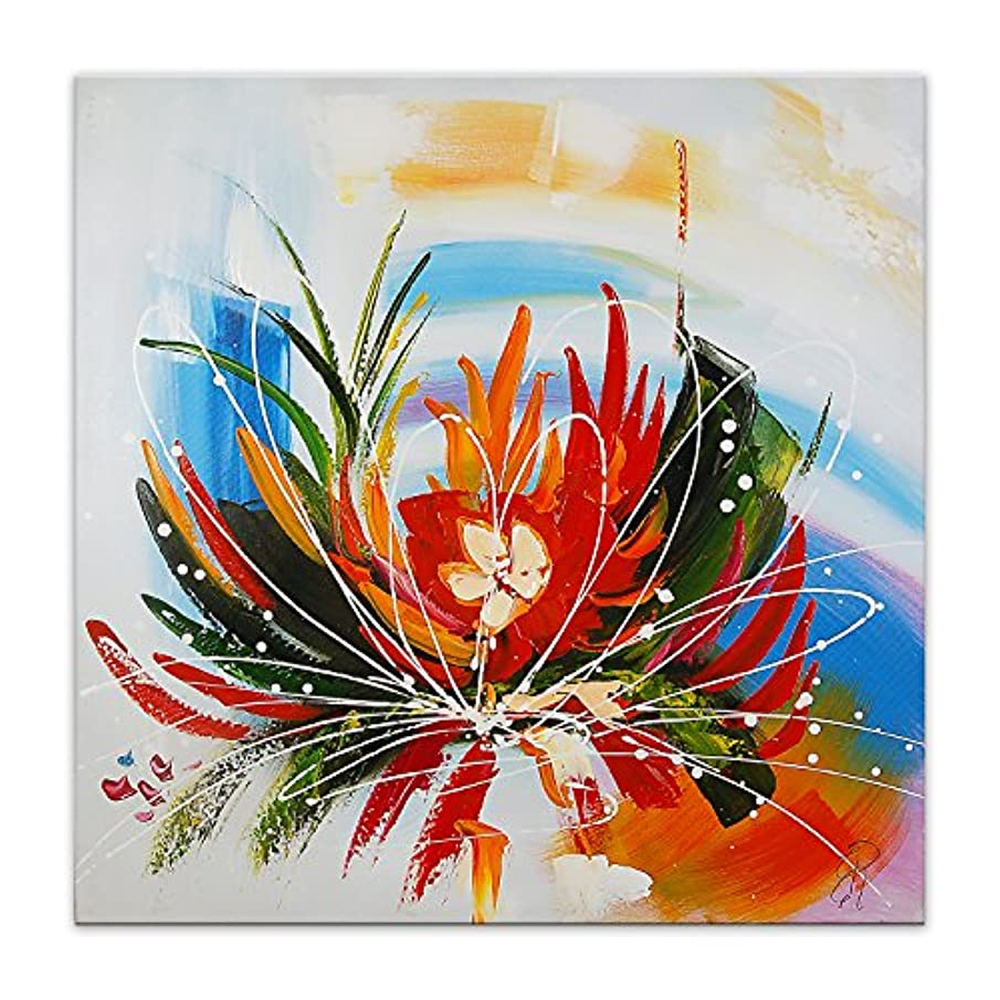 World Art TW60063 Aesthetic Wooden Frame Abstract Flower 80x80x3.5 cm Size: 32 x 32 x 2 Inch