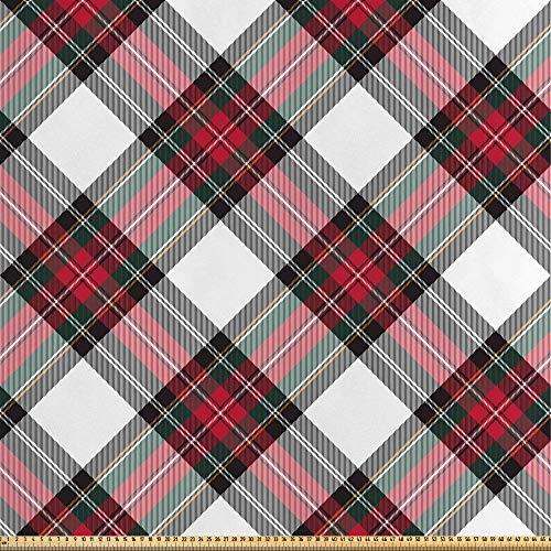 ABAKUHAUS Schotse ruit Stof per strekkende meter, Plaid Motif Rhombuses, Decoratieve Satijn Stof voor Huishoudtextiel en kunstnijverheid, 5 m, Veelkleurig