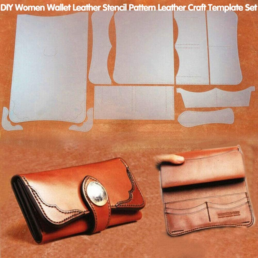 FASTROHY PVC DIY Women Wallet Leather Stencil Pattern Leather Craft Sewing Template Set