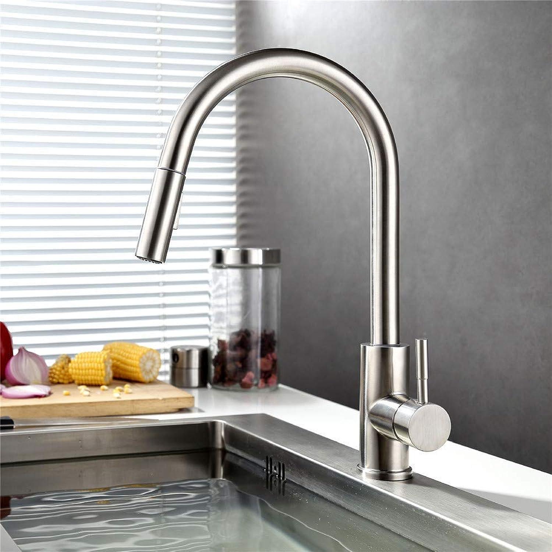 Wasserhahn Küche Waschbecken Badezimmer Ausziehbarer Küchenarmatur-Mischwassermischer aus Edelstahl 304 mit 360-Grad-Drehung