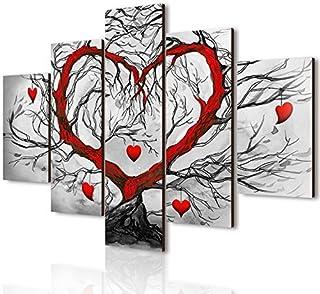 Lupia Vogue - Composición de 5 Cuadros de Madera para Pared, árbol del Amor, 66x 115cm