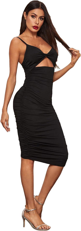 SheIn Damen Kleid mit gedrehtem Frontausschnitt, gerüscht, hohe ...
