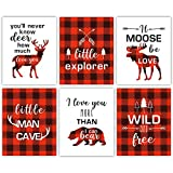 Forest Animals Buffalo Plaid Wall Art ,Red and Black Woodland Art Print,Set Of 6 (8X10,Unframed) Inspirational Quote Canvas Poster ,Moose Deer decor For Boy Bedroom,Playroom