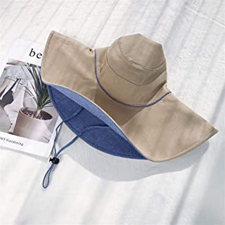 SHENLIJUAN Large Brimmed hat Female Summer Korean Version of Japanese Wild Travel Sun hat Sun hat Covering her face Wearing a Double-Sided (Color : Camel, Size : One Size)
