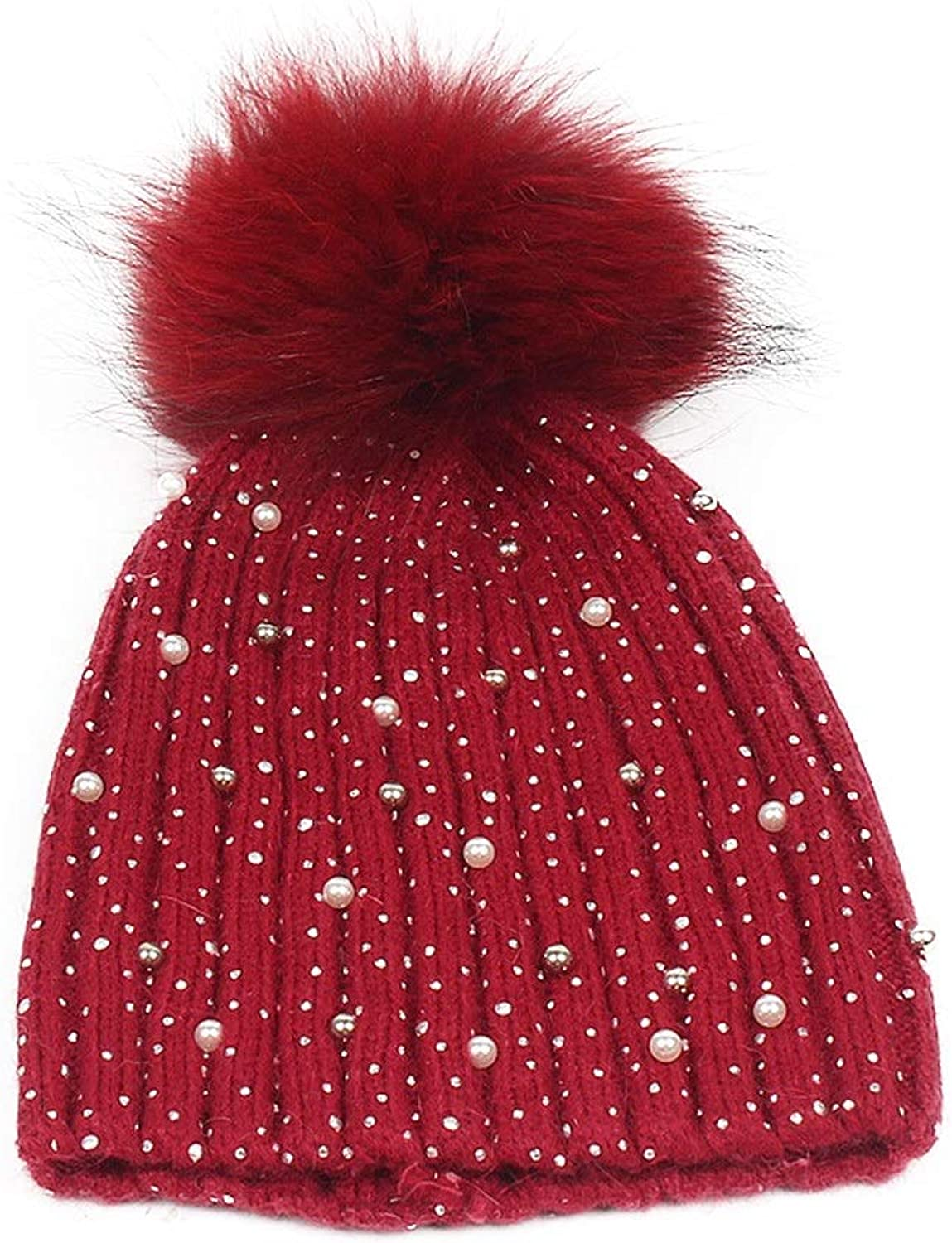Women's Autumn Winter Soft Thickened Warm Knitted Cap Soft Pompom Hat. (color   Red)