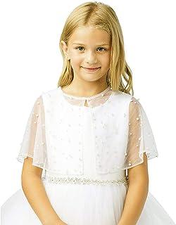 Girl's White Satin Organza Short Sleeve First Communion Flower Girl Borelo Shrug Jacket Size 2-16