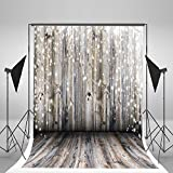 5x7ft Light Grey Wood Wall Photography Backdrop Gray Wooden Floor Photo Backgrounds for Christmas