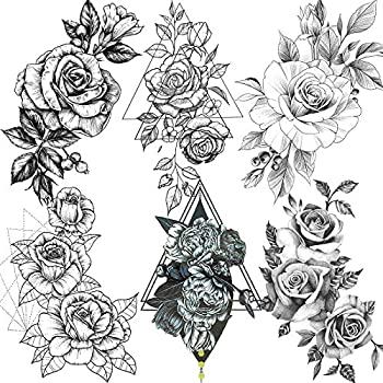 6 Sheets FANRUI Sexy Large Geometric Flowers Temporary Tattoos For Women Girls Triangle Rose Painting Big Peony Tatoos Paper Waterproof Arm Back Legs Camellia Floral Fake Tattoo Sticker Realistic