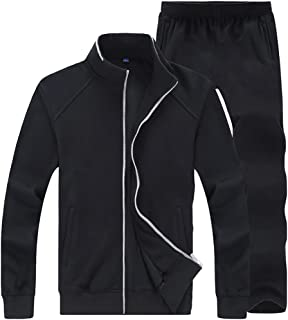 Comaba Mens Casual Stand Collar Athletic Fitness Long-Sleeved Tracksuits