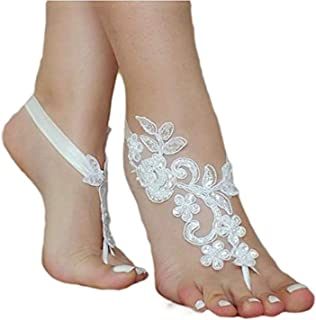 SlenyuBridal Lace Anklets Barefoot Sandals Beach Wedding Bridal Anklet Prom Party Bellydance Accessories
