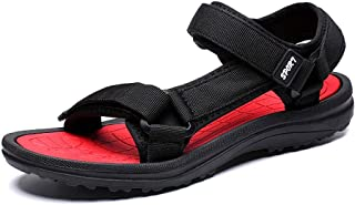 Summer Sandals for Men - POHOK Mens Outdoor Flats Casual Beach Athletic Shoes Breathable Velcro Sport