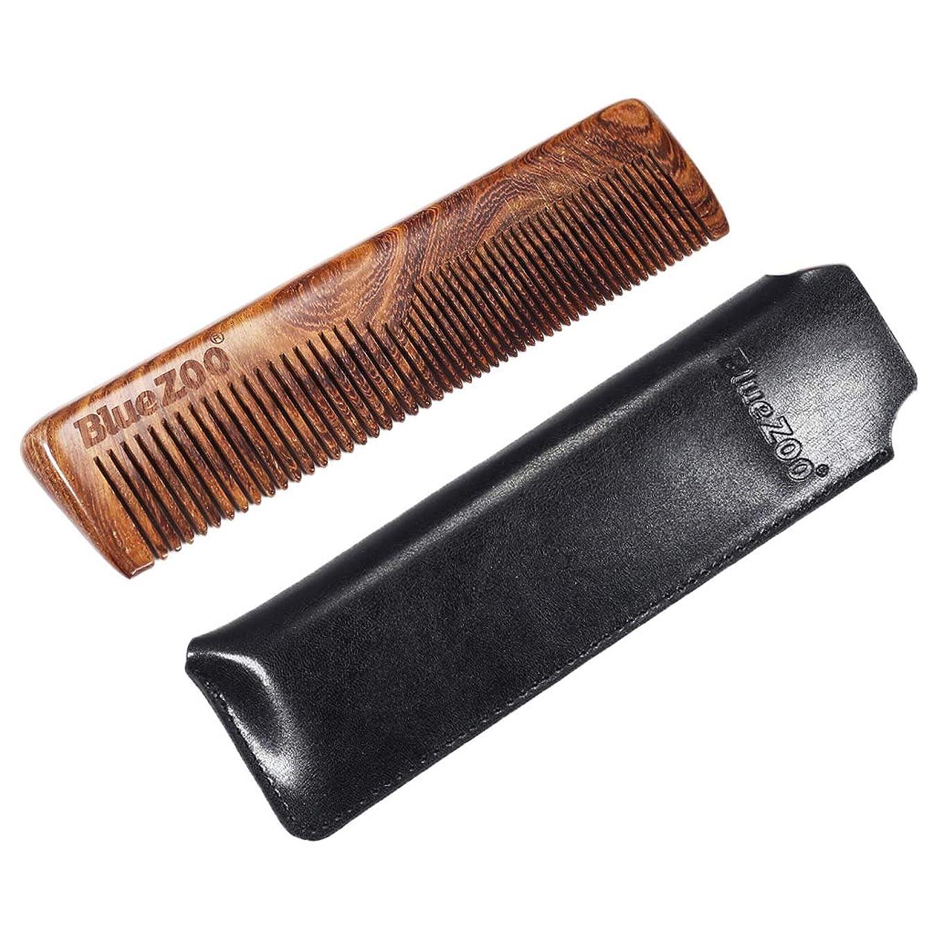 弾丸レンジ永遠のP Prettyia ウッドコーム 静電気防止櫛 ひげ櫛 ヘアブラシ 収納バッグ 2色選べ - ブラック