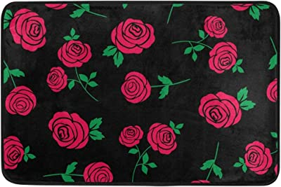 Red Rose Pattern On Black Doormat, Entry Way Indoor Outdoor Door Rug with Non Slip Backing, (23.6 x 15.7-Inch)