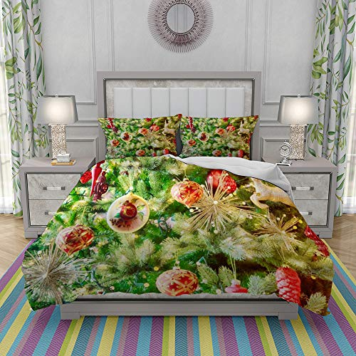 JOLIEAN Duvet Cover Set-Bedding,Holiday Christmas Tree Newport,Quilt Cover Bedlinen-Microfibre 140x200cm with 2 Pillowcase 50x80cm