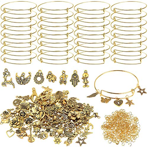 UPINS 30Pcs Gold Expandable Bangles Bracelets Adjustable Wire Blank Bracelets with 100Pcs Tibetan Antique Gold Charms, 200Pcs Open Jump Rings for DIY Jewelry Making