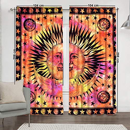 Tye and Dye Multi Yoga Mandala Tapestry Room Curtains Boho Sheer Curtains Mandala Window Rod Pocket Cotton Curtain Hippie Tapestry Door Curtain Drape Balcony Curtains (Orange Sun & Moon)