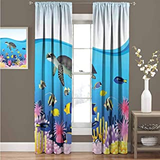 GUUVOR Whale Shading Insulated Curtain Illustration of Sea Anemone Turtles Goldfish Snorkel Tropical Seascape Cartoon Soundproof Shade Curtain 52