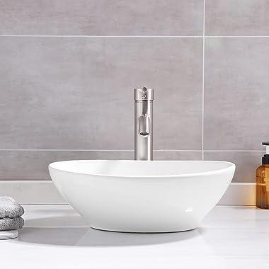 "KES 16"" x 13"" Oval White Ceramic Vessel Sink - Modern Egg Shape Above Counter Bathroom Vanity Bowl, BVS124"