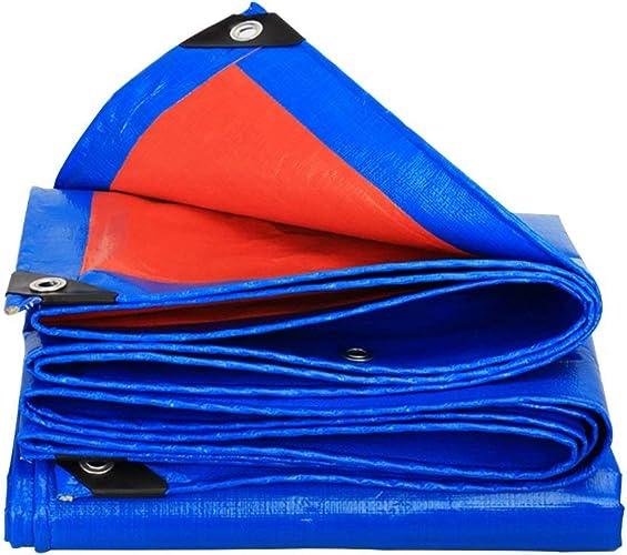 JINSH Bache imperméable en Toile imperméable, bache de Prougeection Solaire Anti-Pluie, Anti-vieillissement Anti-Corrosion, Anti-Gel, Orange + Bleu (Couleur   A, Taille   4x5M)