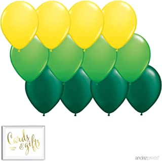 Andaz Press 11-inch Balloon Trio Party Kit with Gold Cards & Gifts Sign, Yellow, Kiwi Green, Emerald Green, 12-Pack, Pineapple Flamingo, Dinosaur, Farm, Theme Supplies, Fill with Air or Helium