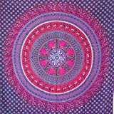 MOMOMUS Tapiz Mandala Étnico - 100% Algodón, Grande, Multiuso - Pareo/Toalla de Playa Gigante - Cubre Sofá/Cama - Telas para Decoración de Pared - 210x230 cm, Violeta