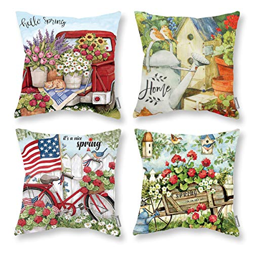 ONWAY Vintage Farmhoues Throw Pillow Covers 18x18 Set of 4 Red Truck and Floral Decor American Flag Pillow Covers for Home Couch Sofa and Patio