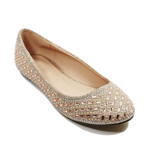 Walstar Women Casual Rhinestone Glitter Mesh Slip On Ballet Flat Lightweigh 51d0859e402c