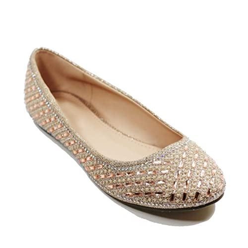 16bfa0fcc296 Walstar Women Casual Rhinestone Glitter Mesh Slip On Ballet Flat Lightweigh