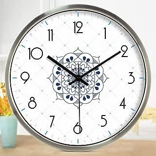 Wall Clock 12inch,14inch Gymnasium Studio Yoga Gymnasium Training Room Decorative Mute (Color : Silver, Size : 12inch)