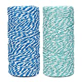 Cotton Bakers Twine String 328 Feet 100m for Baking, Crafts and Christmas Holiday Wrapping Cord (Blue/Mint)