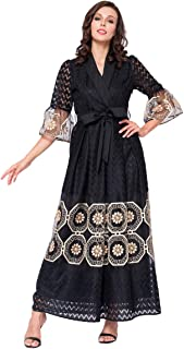 Blossm Dress for Womwn's Jalabiya Hot Sales New Design Black V-Neck Muslim Robe Maxi Dress (XXX-Large, black)