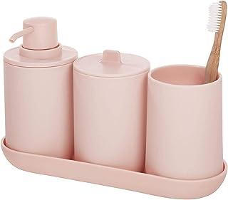 InterDesign 28731 Cade Bathroom Accessories Set, 4-Piece Sink Tidy, Blush