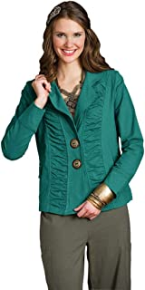 Women's Cotton Blazer Female Comfortable Jacket with Notched Collar and Ruched Details