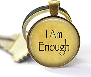 lukuhan I Am Enough - Confidence - Survivor - Self Love - Encouragement Quote Gift - Abuse Survivor Gift - Addiction Recovery Keychain