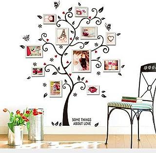 Zooarts Vinilo adhesivo de pared con forma de árbol de, para fotos familiares, decoración de estancias, mural, con flores y mariposas