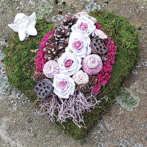 Der-kleine-Dekoladen Grabgesteck Grabherz Mossherz violett Rose Engel Allerheiligen Totensonntag Grabschmuck
