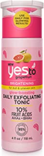 Yes To Grapefruit Glow-Boosting Daily Exfoliating Tonic Dull & Uneven Retexturize & Brighten Skin 10% Fruit Acids (AHAs + ...