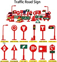 ERLOU 28 Pcs Car Toy Accessories Traffic Road Signs Kids Children Play Learn Toy Game Education Toys Baby Boys Girls (B)