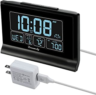 """DreamSky Auto Set Digital Alarm Clock with USB Charging Port, 6.6"""" Large Screen with Time/Date/Temperature Display, Full Range Brightness Dimmer, Auto DST Setting, Snooze, Backup Batteries,12/24Hr."""