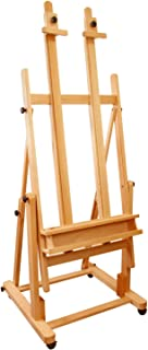 US Art Supply Extra Large Double Mast Studio Wood H-Frame Floor Easel
