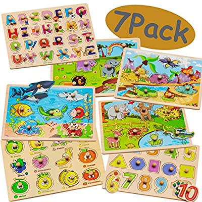 7 Pack Wooden Puzzles for Toddlers 1 2 3 4 Years Old - 7 Colorful Chunky Wood Peg Puzzles for Kids ages 1-4, Alphabet Shape Numbers Fruits Sea Animals Dinosaur Zoo - Educational Toddler Learning Toys