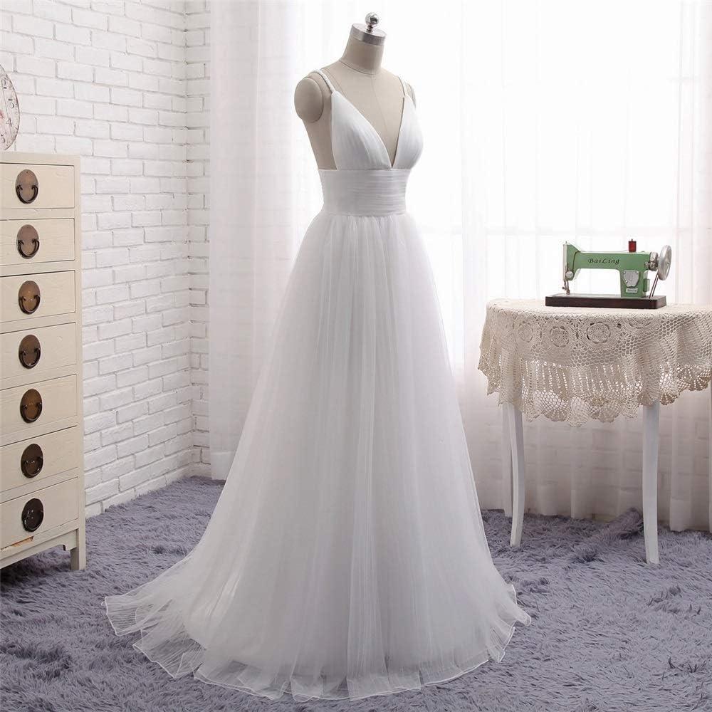 WANGCY Robes de mariée Robe de mariée Femme Manches Courtes Longue soirée en Dentelle Une Robe de mariée en Ligne White
